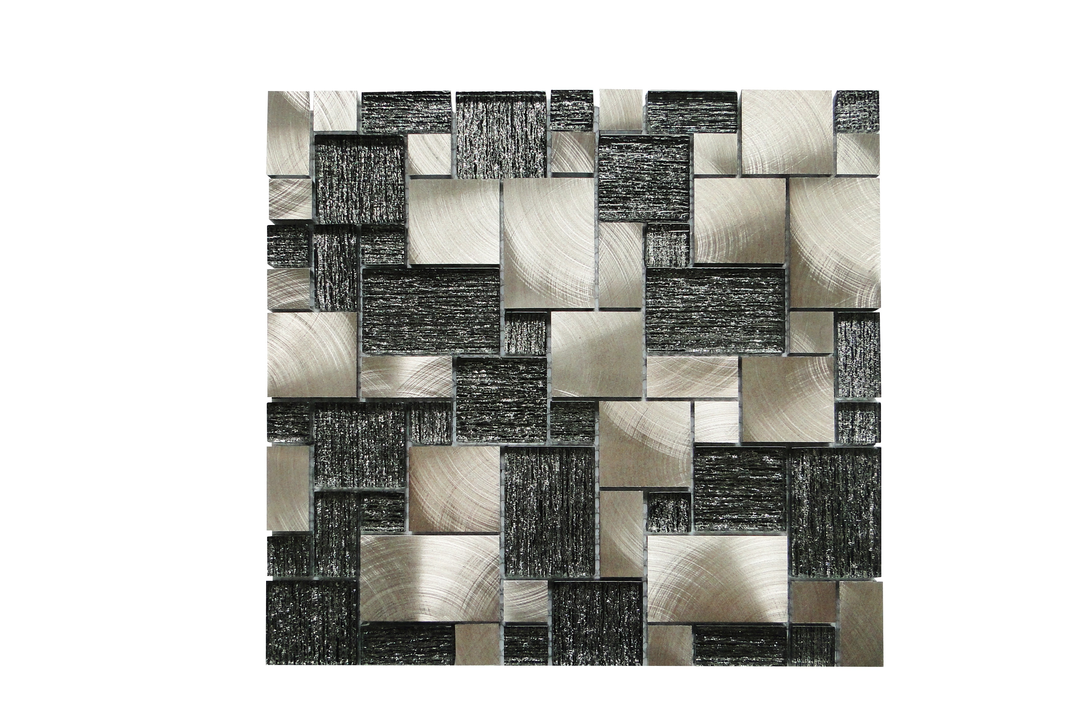 Glass Mosaic / 14 x 14 x 0.31 inches / Glossy Random Sized Square Glass And Aluminum Mosaic Tile In White 0