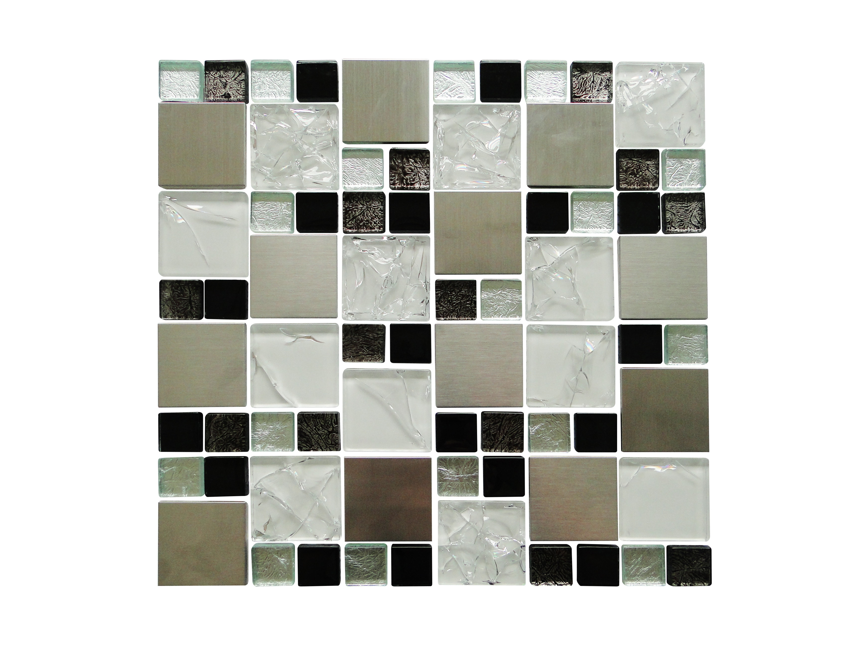Glass Mosaic / 12 x 12 x 0.31 inches / Glossy Random Sized Square Glass And Aluminum Mosaic Tile In Silver 0