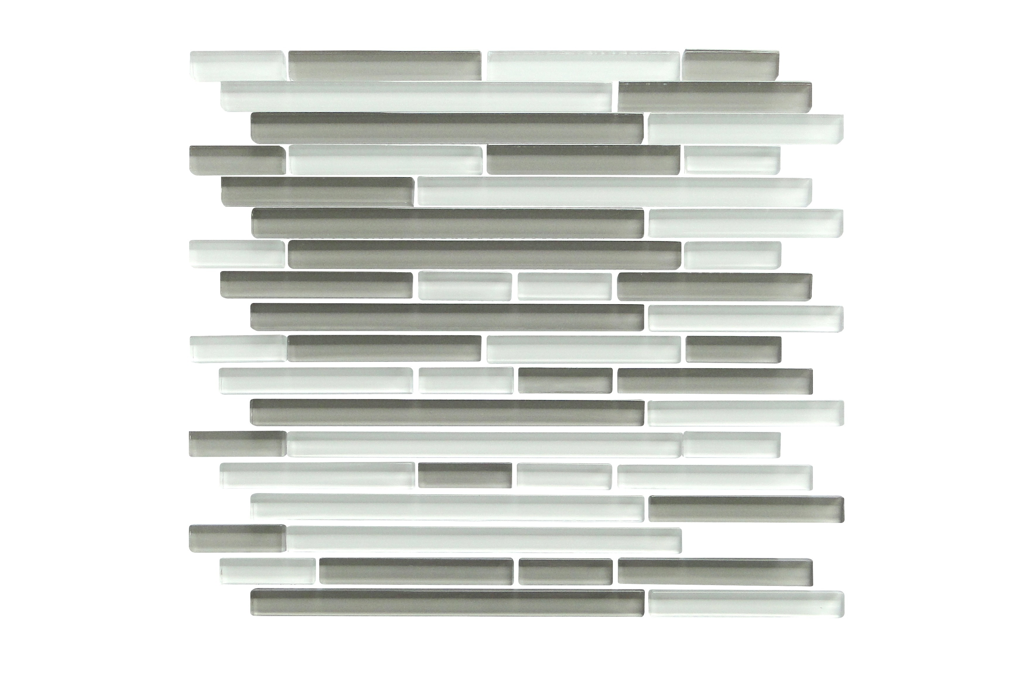 Glass Mosaic / 14 x 12 x 0.31 inches / Glossy Interlocking Random Sized Glass Mosaic Tile In Gray And White 0