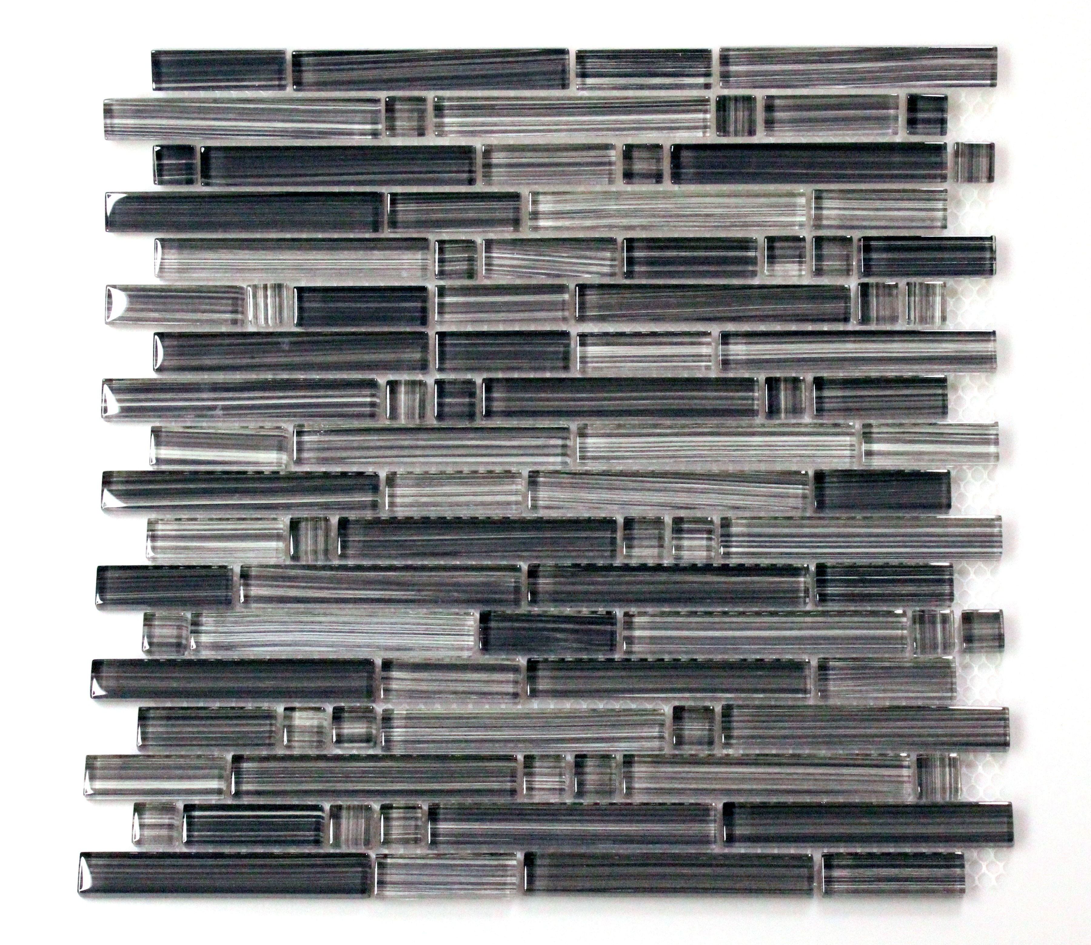 Glass Mosaic / 12 x 12 x 0.31 inches / Glossy Interlocking Random Sized Glass Mosaic Tile In Hand Painted Gray 0