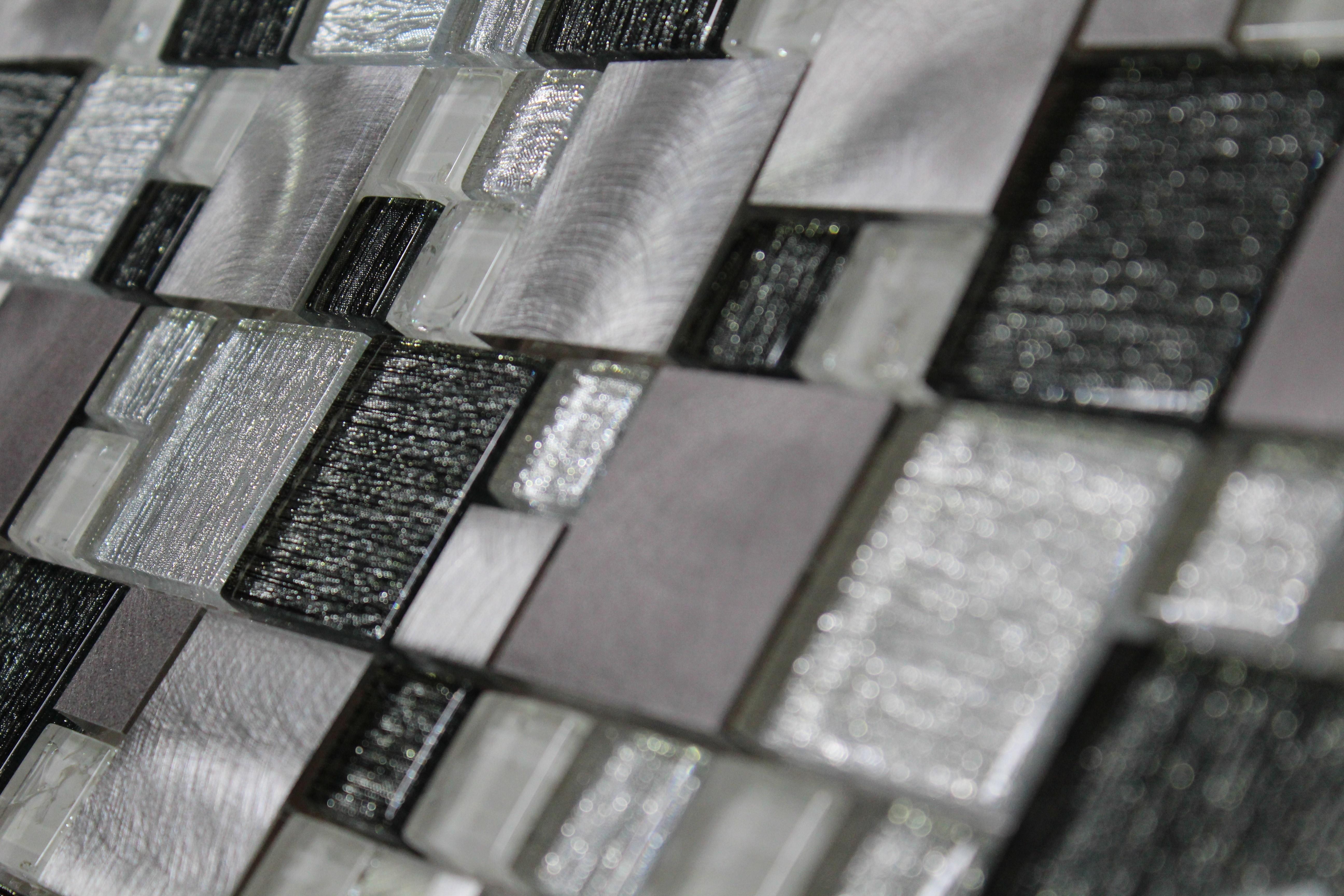 Glass Mosaic / 12 x 12 x 0.31 inches / Glossy Random Sized Square Glass & Aluminum Mosaic Tile White, Gray & Black 0