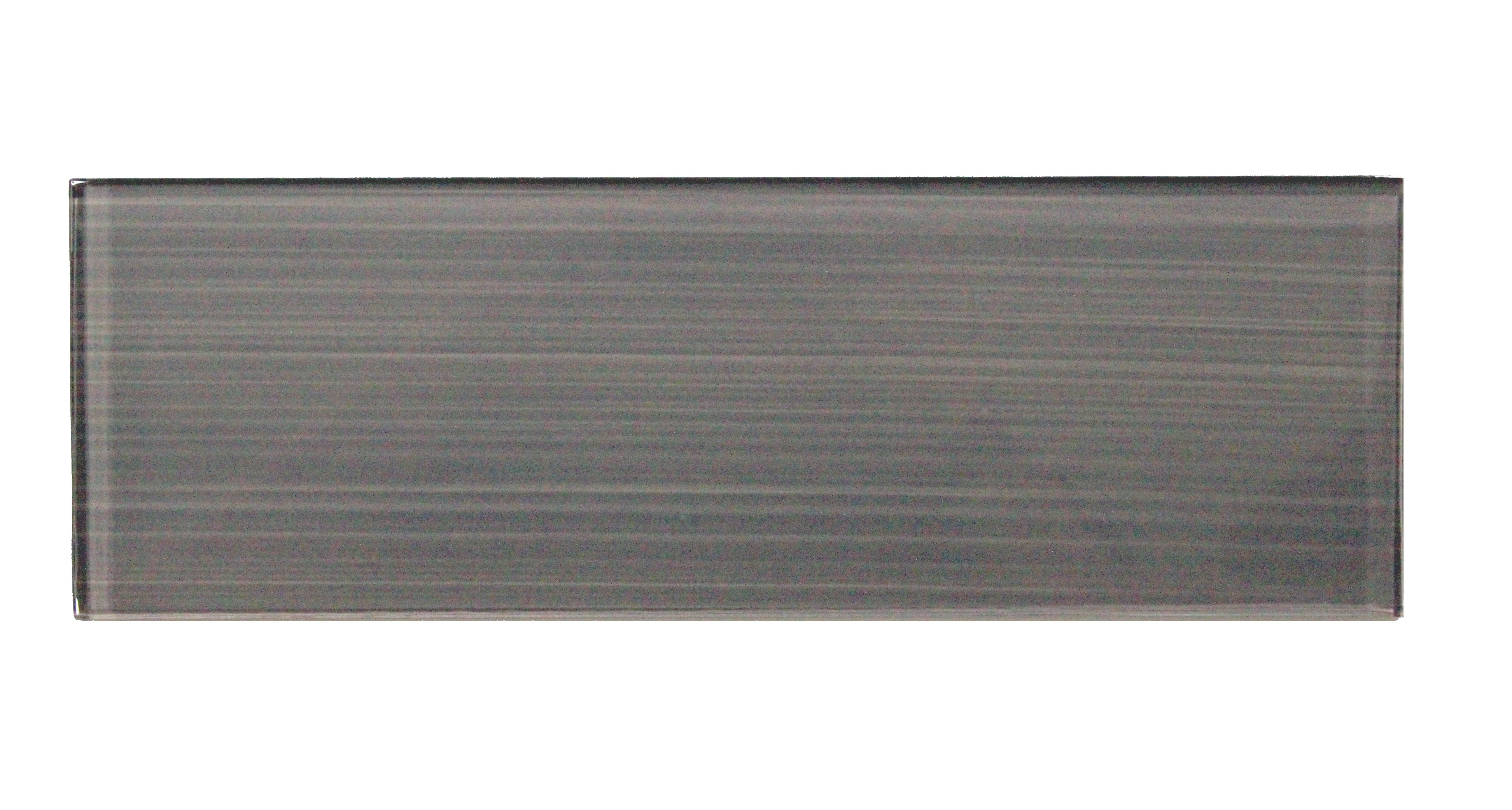 """Glass Mosaic / 4 x 12 x 0.31 inches / Glossy Hand Painted Individual 4"""" X 12"""" Glass Subway Tile In Dark Gray 0"""