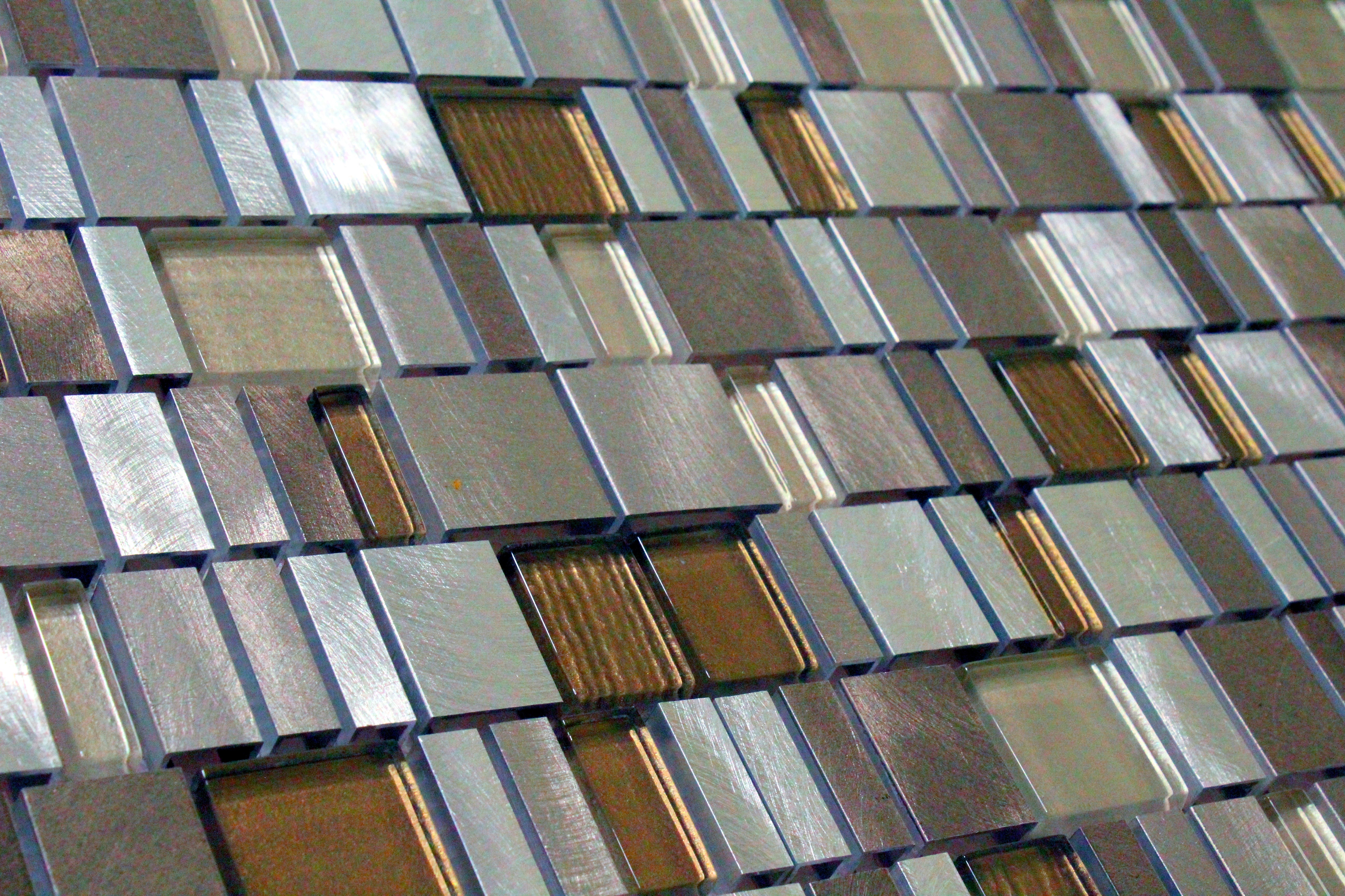Glass Mosaic / 12 x 12 x 0.31 inches / Glossy Random Sized Squares Glass & Aluminum Mosaic Tile In Earth 0