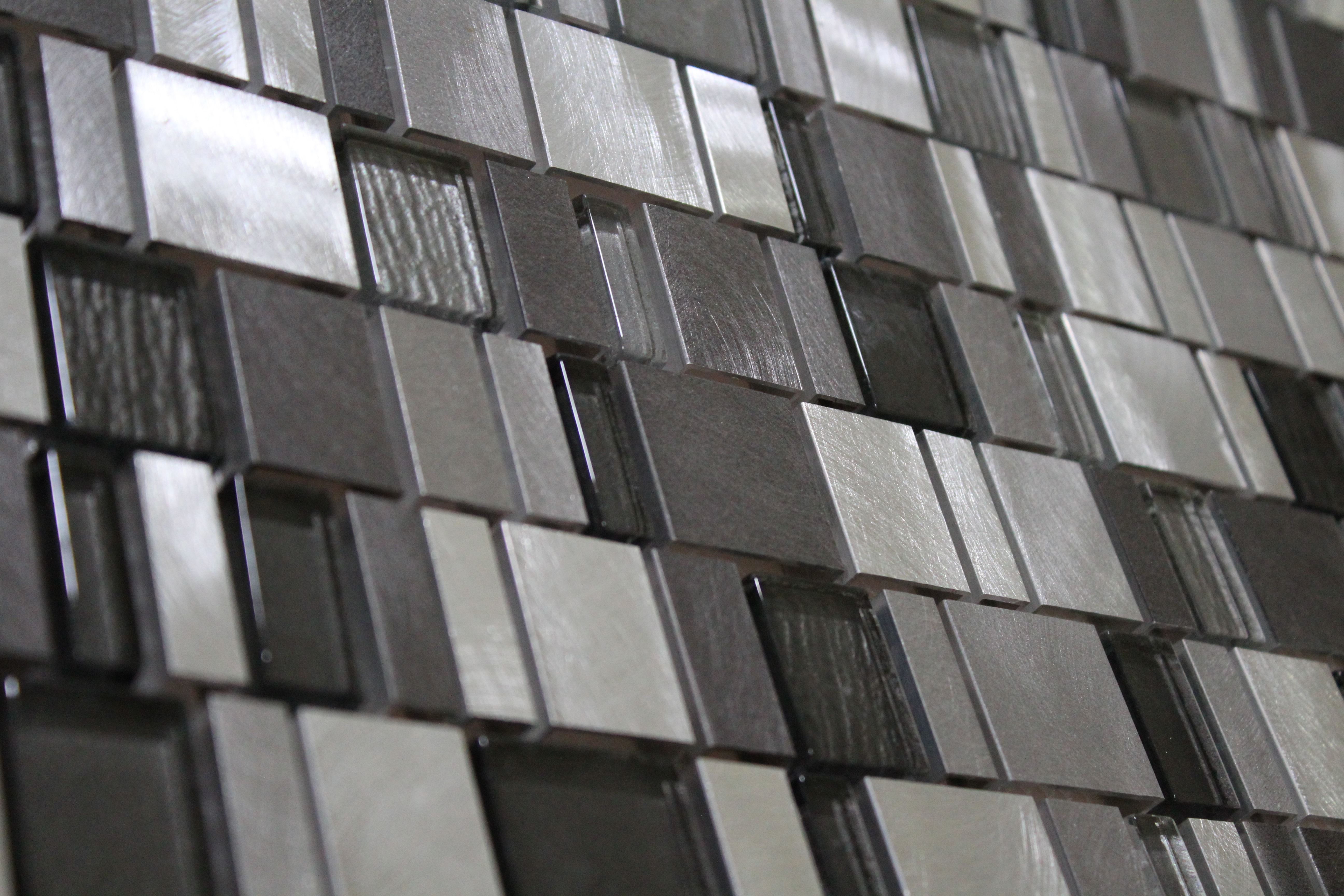 Glass Mosaic / 12 x 12 x 0.31 inches / Glossy Random Sized Squares Glass & Aluminum Mosaic Tile In Gray 0