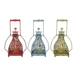 Benzara - Metal Candle Holder 3 Assorted With Vibrant Colors