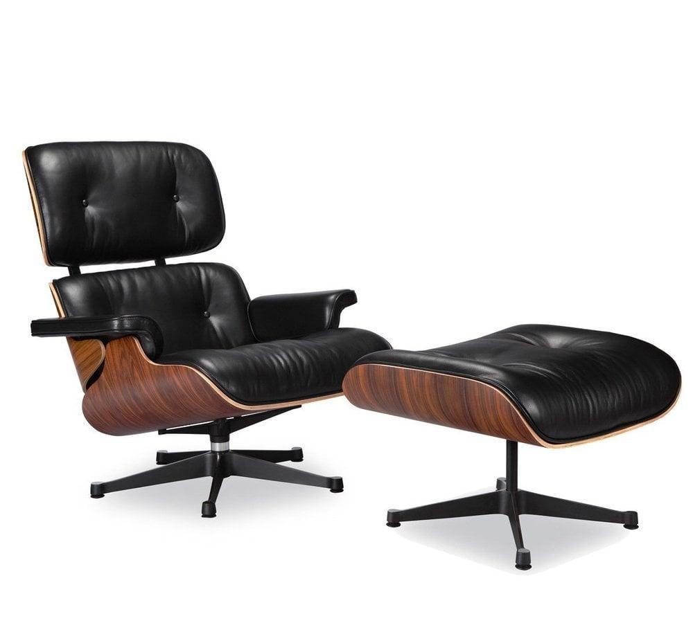 Nicer Furniture Modern Lounge Chair And Ottoman Black 100