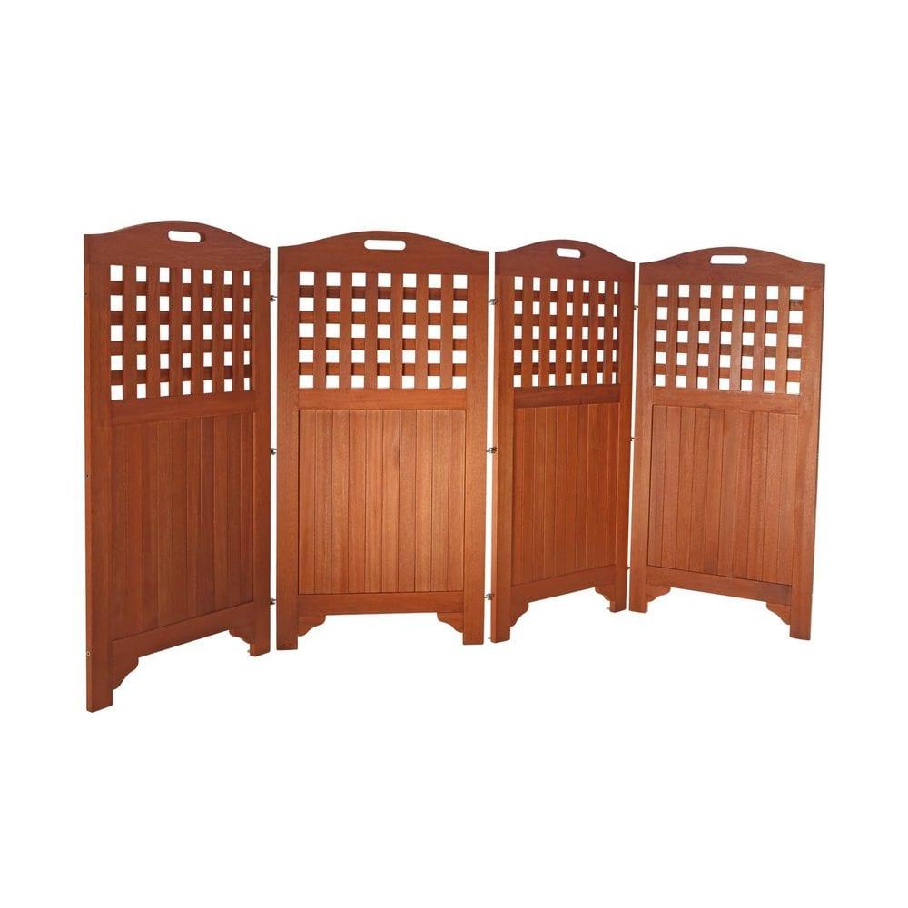 "Vifah 48"" Outdoor Acacia Wood Privacy Screen With 4 Panels"