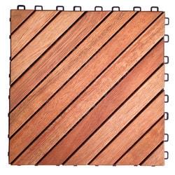12 Diagonal Slat Eucalyptus Interlocking Deck Tile 11 L x 11 W x 1 H