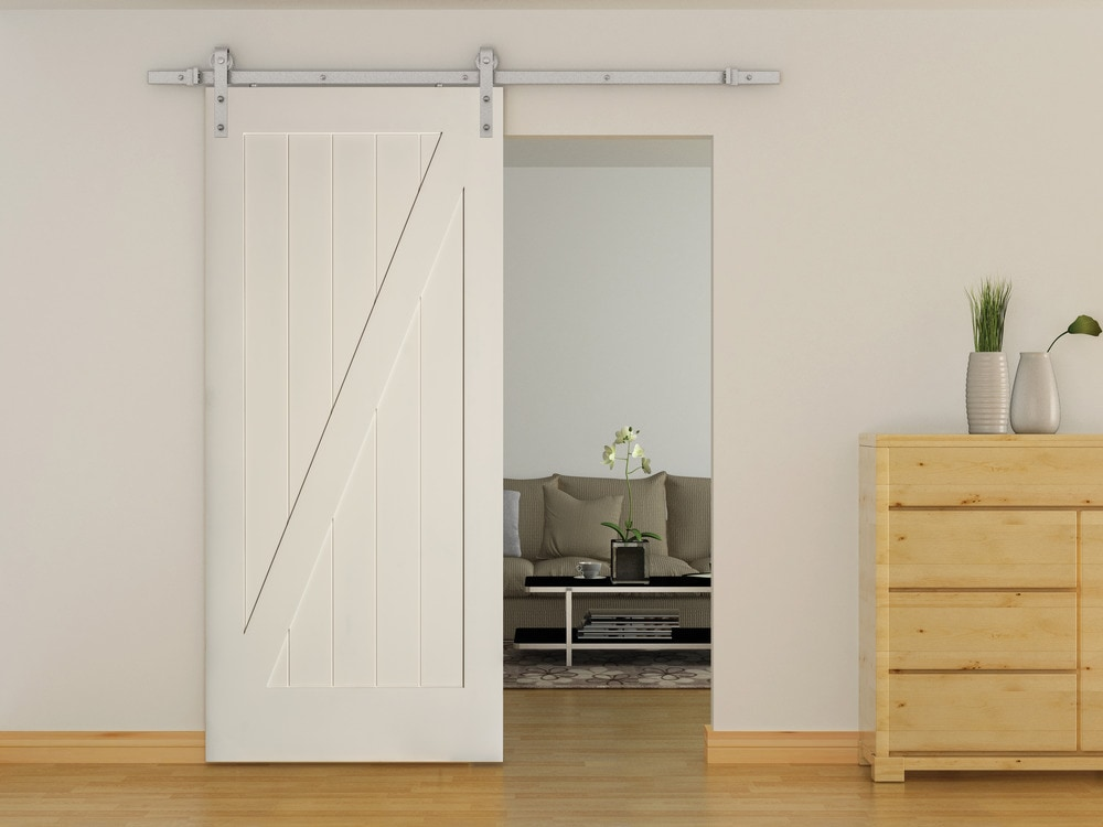 American door company 36 x 84 primed 1 panel z bar barn for The barn door company