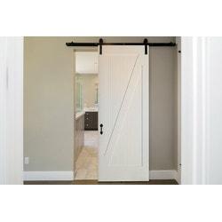 """American Door Company 42"""" x 84  Primed 1 Panel Z Bar Barn Door with Black Hardware"""