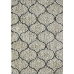 "Jayden Home - Milo Shag Ivory Gray Links 2'3"""" X 8'"