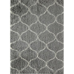 Jayden Home - Milo Shag Gray Ivory Links 5' X 8'