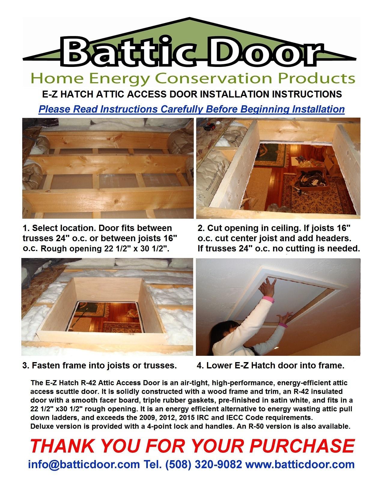 Battic Door Battic Door® 22 in. x 30 in. R-50 E-Z Hatch® Attic Access Door R50EZHATCH  sc 1 st  BuildDirect & Battic Door Battic Door® 22 in. x 30 in. R-50 E-Z Hatch® Attic ...