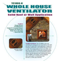 Battic Door - Tamarack 1000 CFM R-10 Insulated Whole House Fan, White