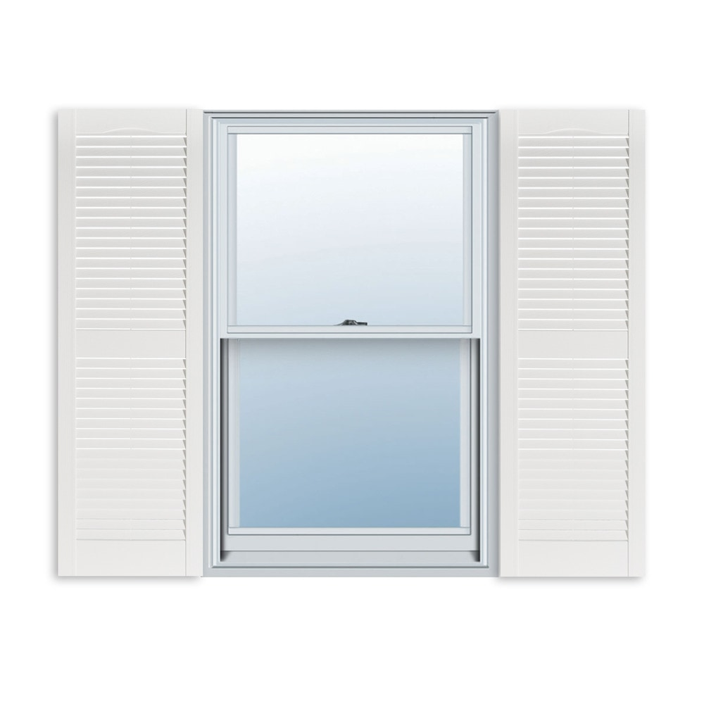 Exterior Solutions Standard Louver Exterior Vinyl Window Shutters Louver Paintable 15 X 51