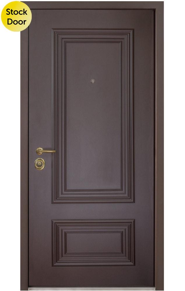 Novo Porte Polo Steel Entry Door Out Dark Brown In