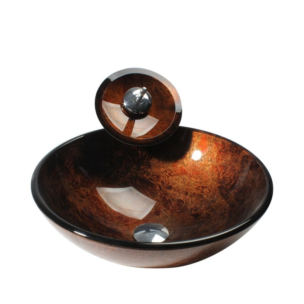 Arsumo Arsumo Brown Circular Glass Vessel Bathroom Sink And - Bathroom sink and faucet set