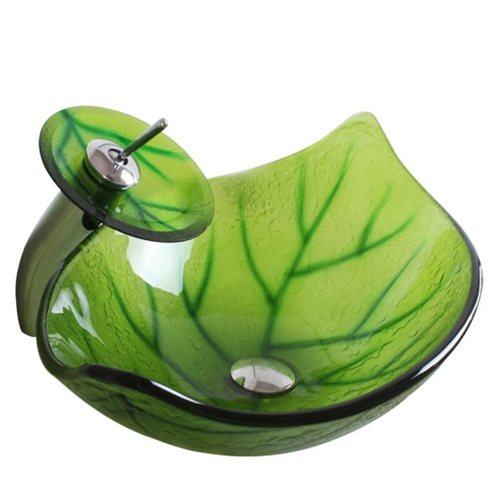 Arsumo Arsumo Green Leaf Oval Glass Vessel Bathroom Sink And Faucet