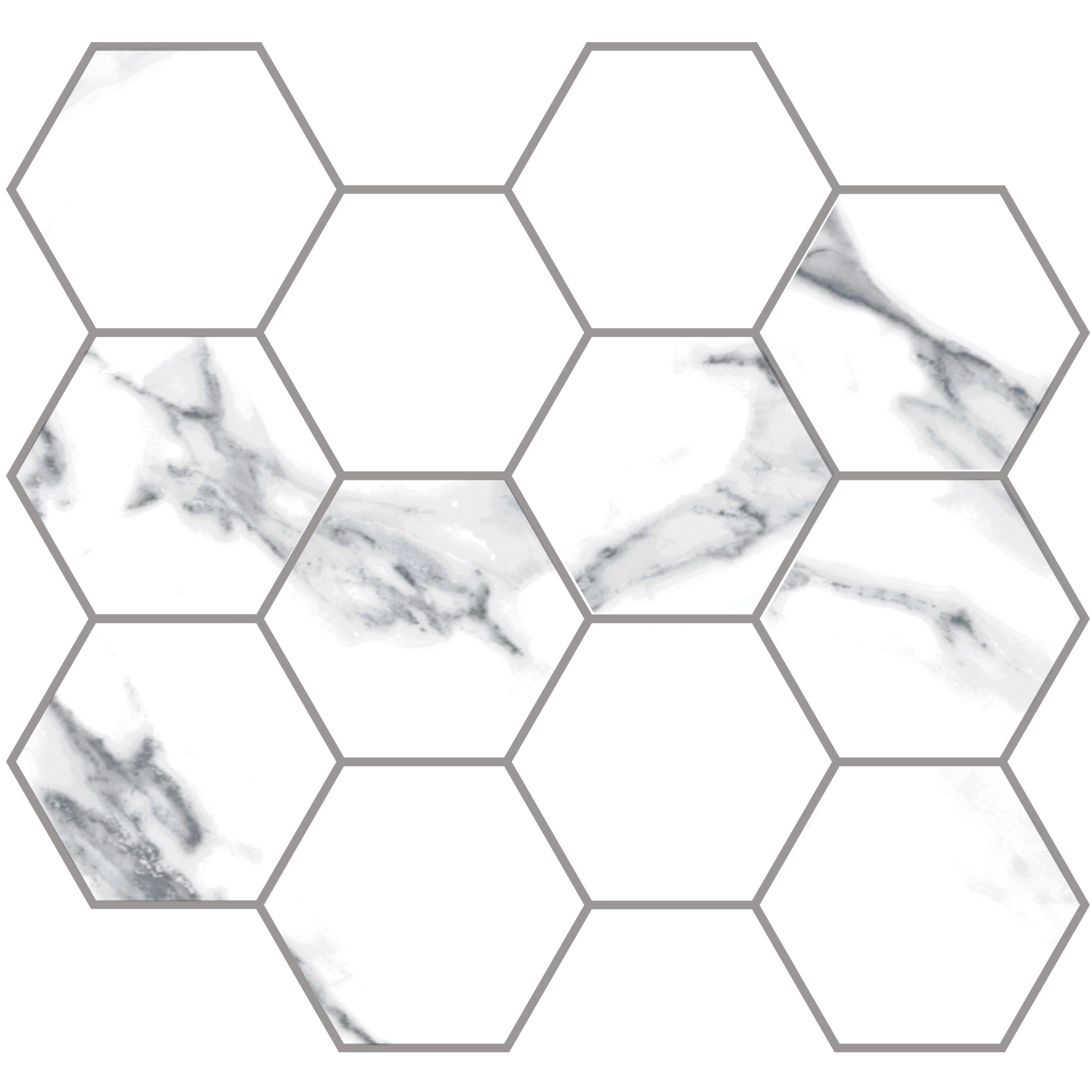 "Statuario Extra / 3.25"" Hexagon - 10""x11.5"" Sheet / Glossy Porcelain Tile - Statuario Marble 0"