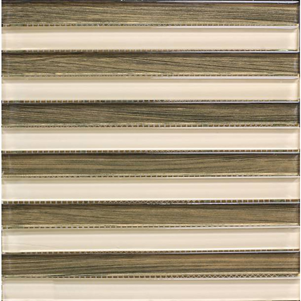 """Brown and Light Brown / 1""""x12"""" Linear Glass Mosaics 0"""