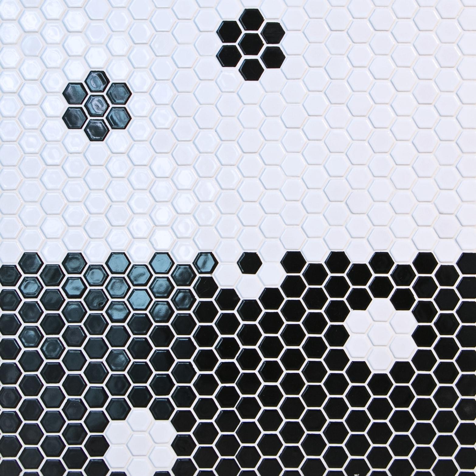 "Black / 1""x1"" / Glossy Hexagon Ceramic Mosaic Tiles 0"