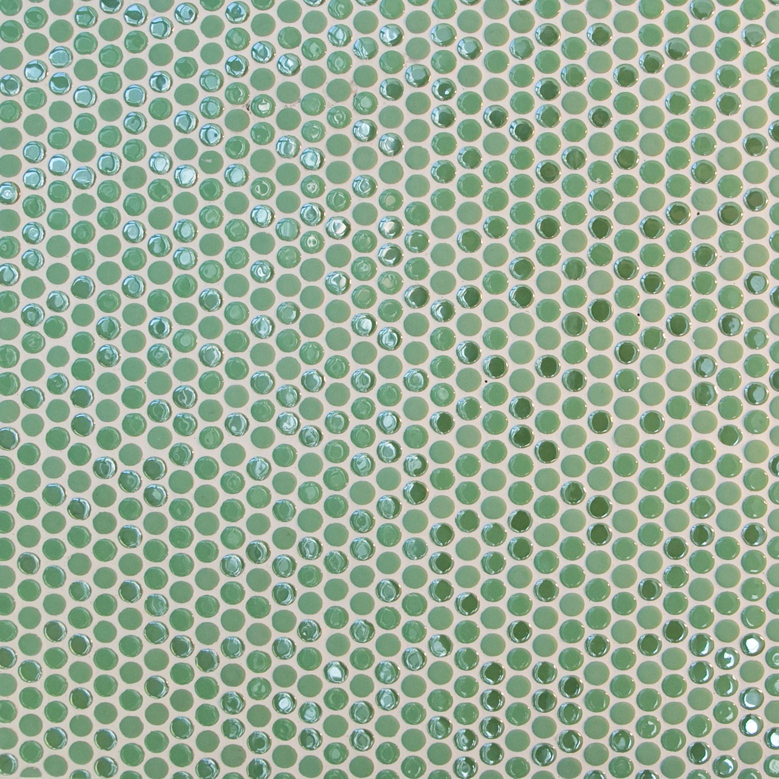 Green, small circles / Glossy and Matte Porcelain Circle Mosaics 0
