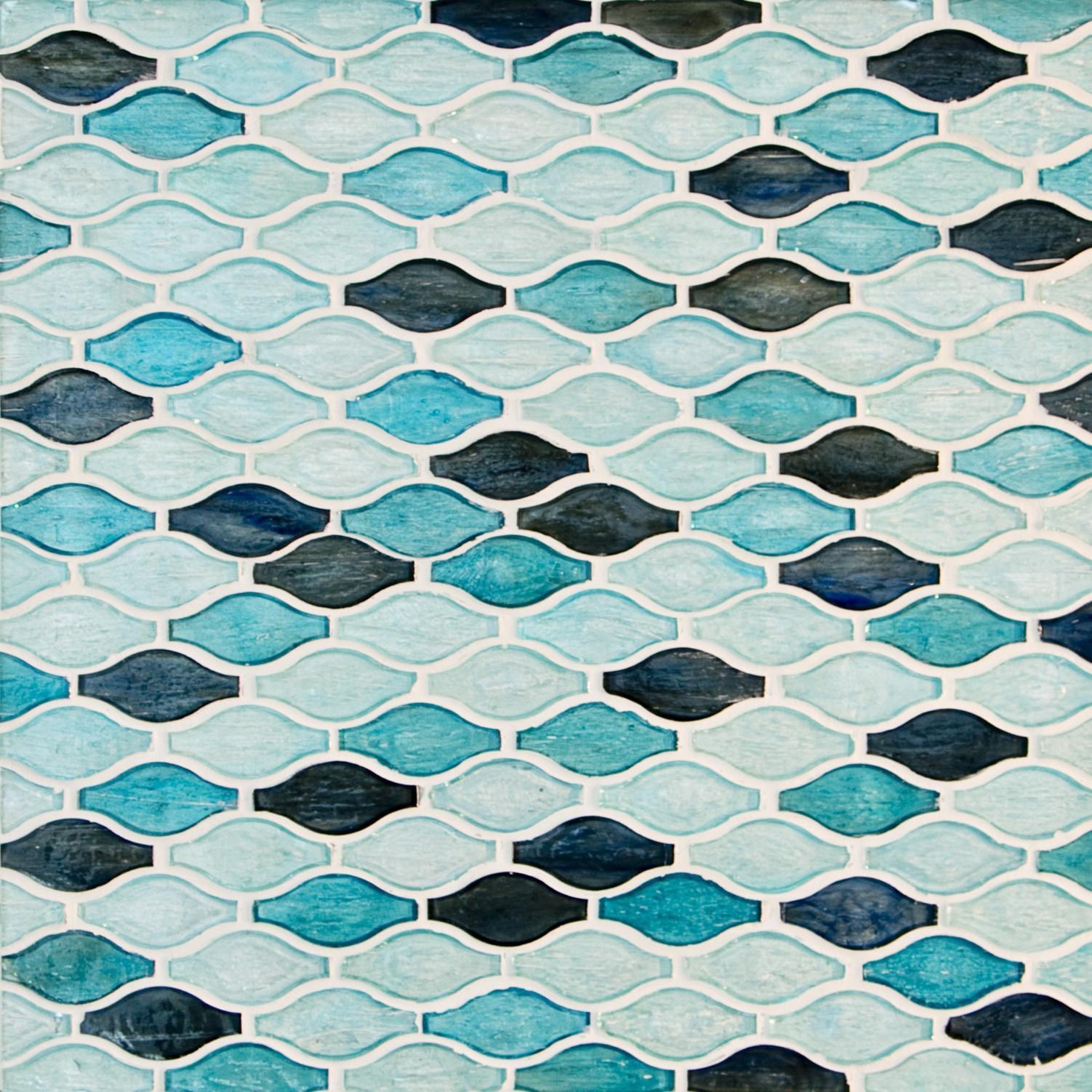 """Blue Green / 3""""x1.5"""" Arabesque Pattern Glass Mosaics 0"""