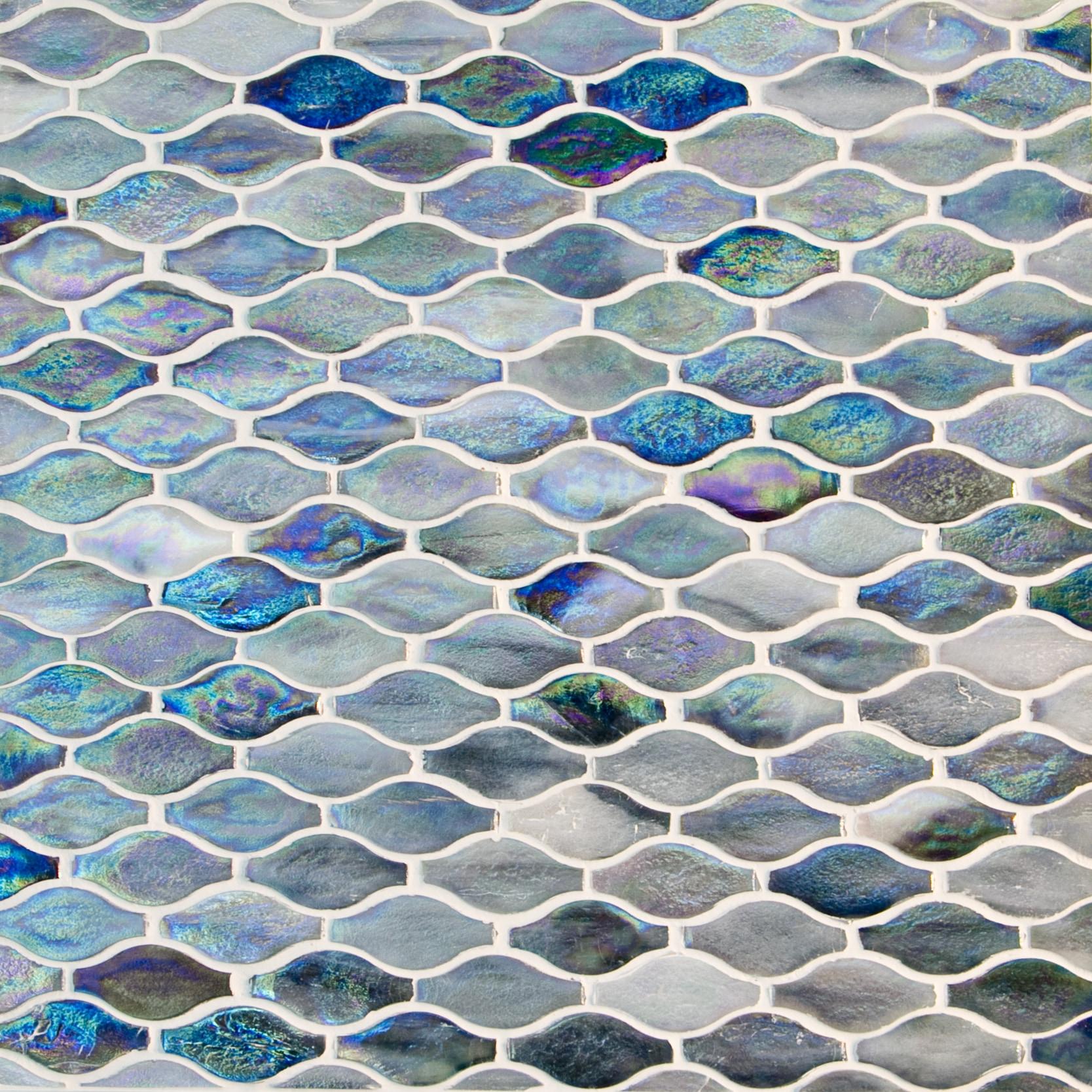 "Blue Violet Pearlescent / 3""x1.5"" Arabesque Pattern Glass Mosaics 0"