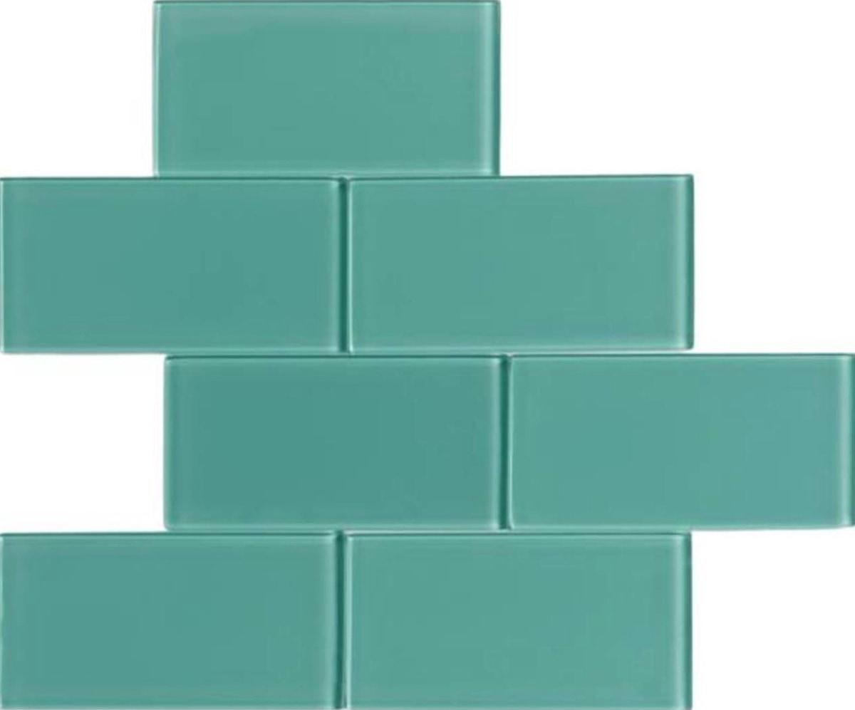 "Blue Green / 3""x6"" 3 x 6 Glass Subway Tiles 0"