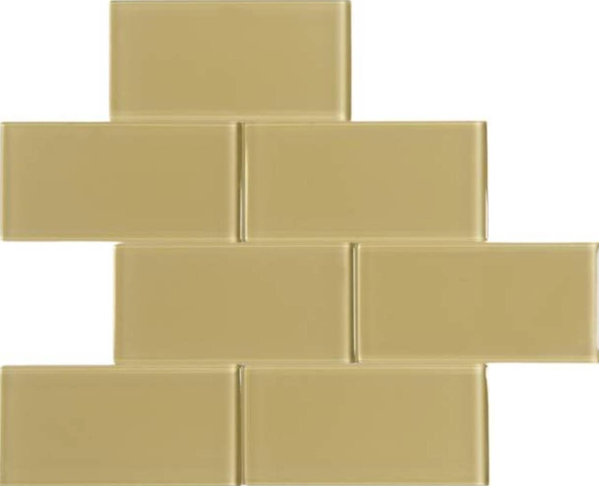 "Gold / 3""x6"" 3 x 6 Glass Subway Tiles 0"