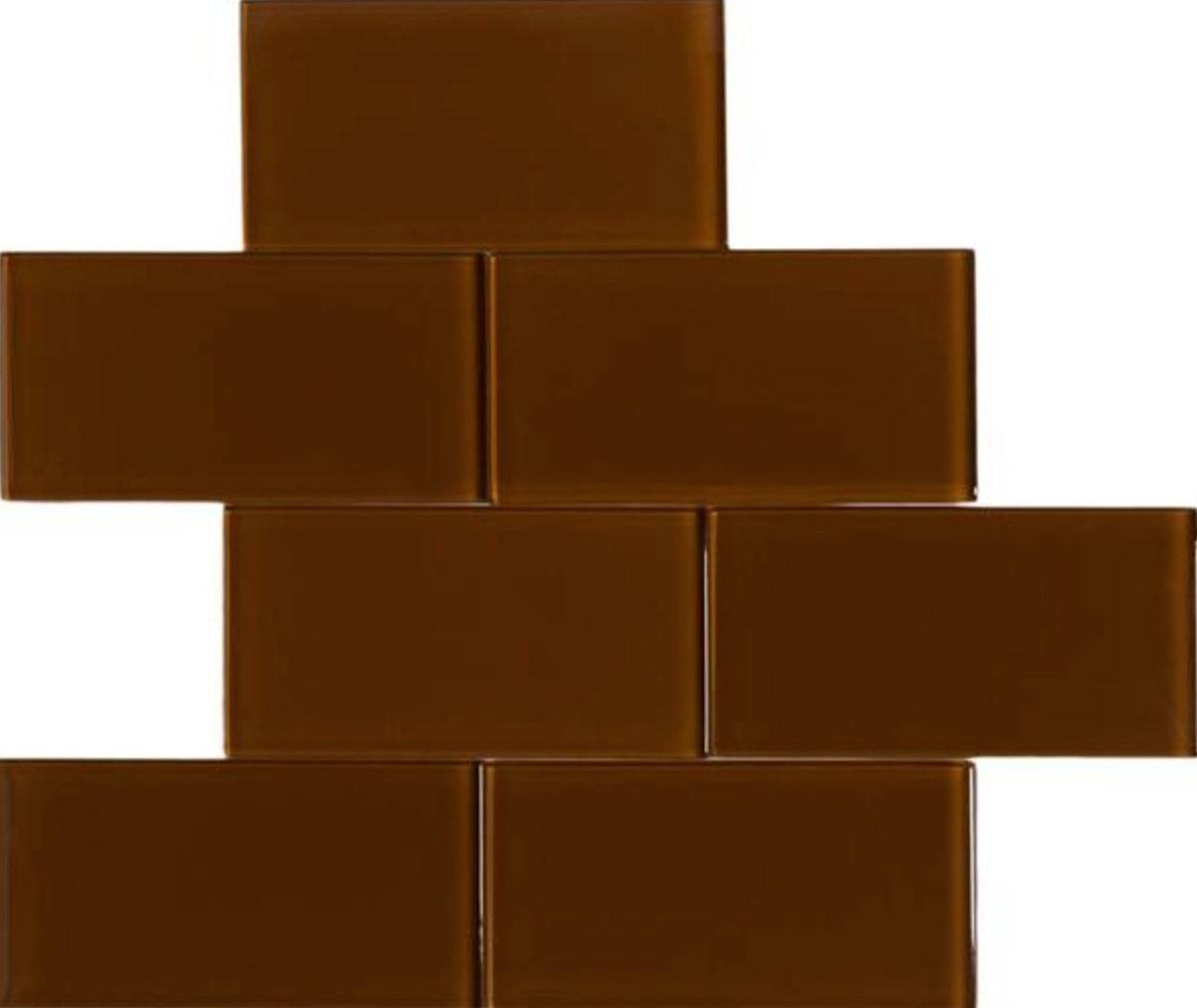 "Brown / 3""x6"" 3 x 6 Glass Subway Tiles 0"