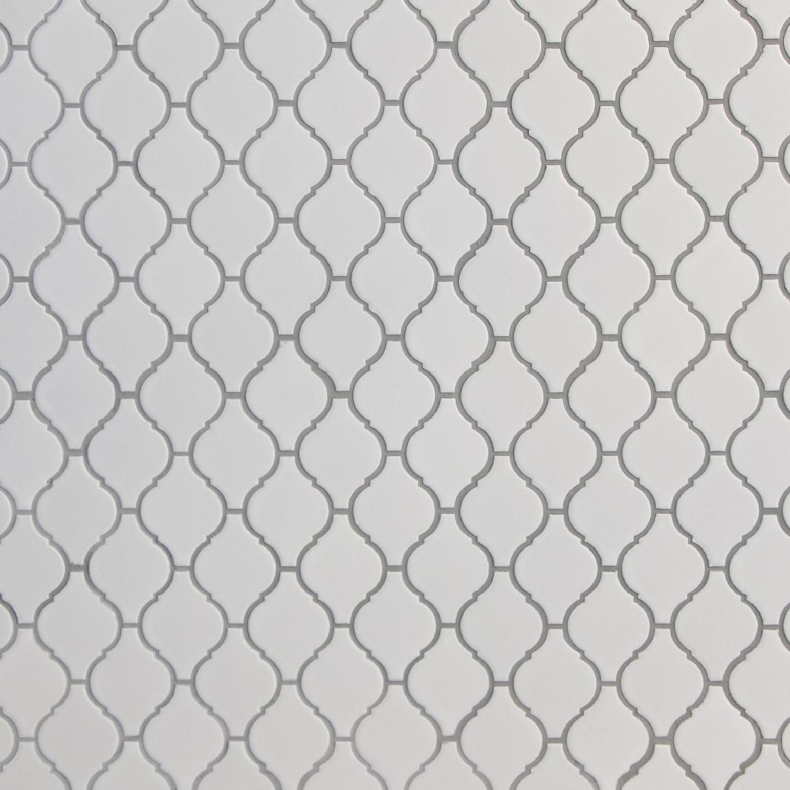 "White, Narrow Pattern / 2.75""x2"" / Matte Arabesque Lantern Mosaics 0"