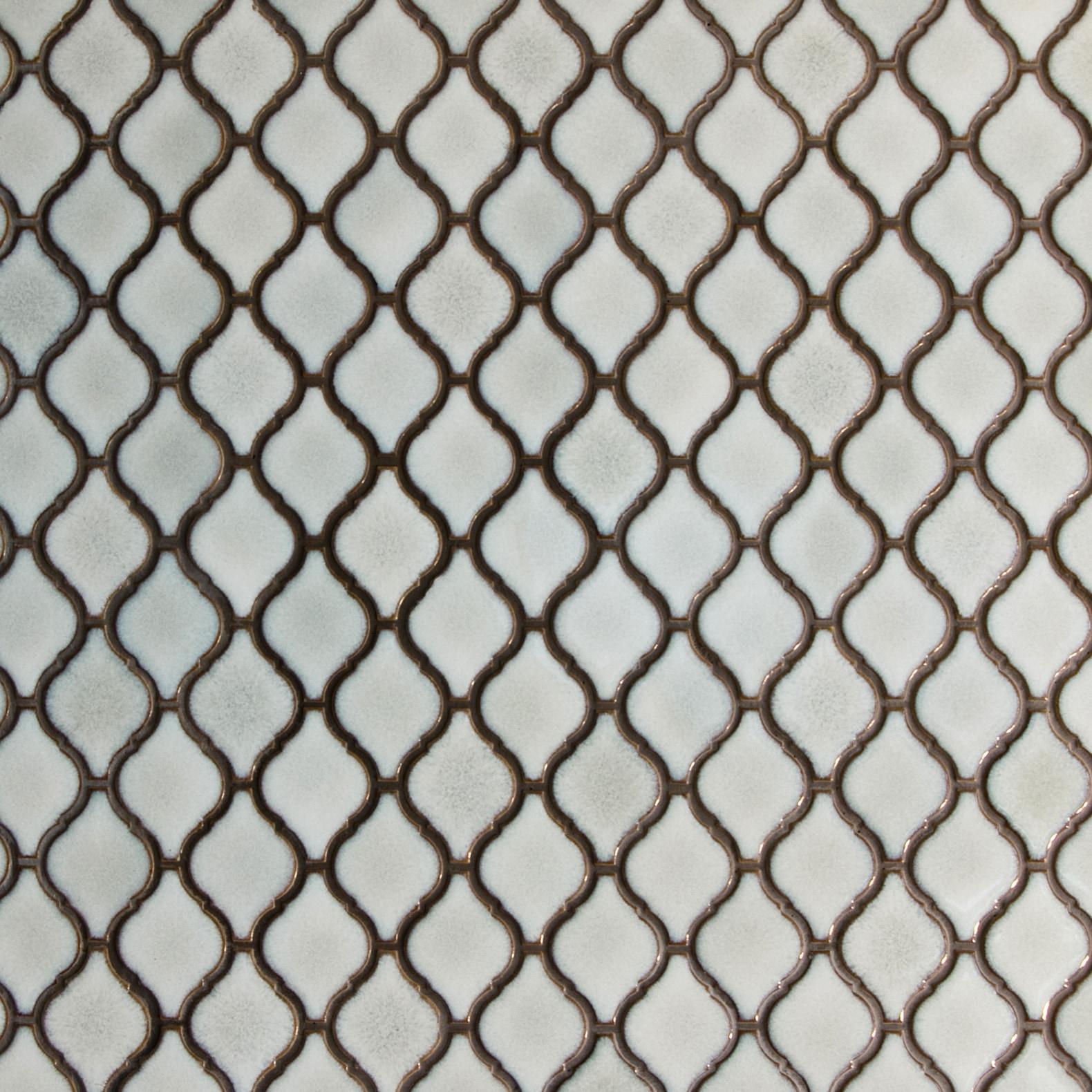 "Antique White, Narrow Pattern / 2.75""x2"" / Glossy Arabesque Lantern Mosaics 0"