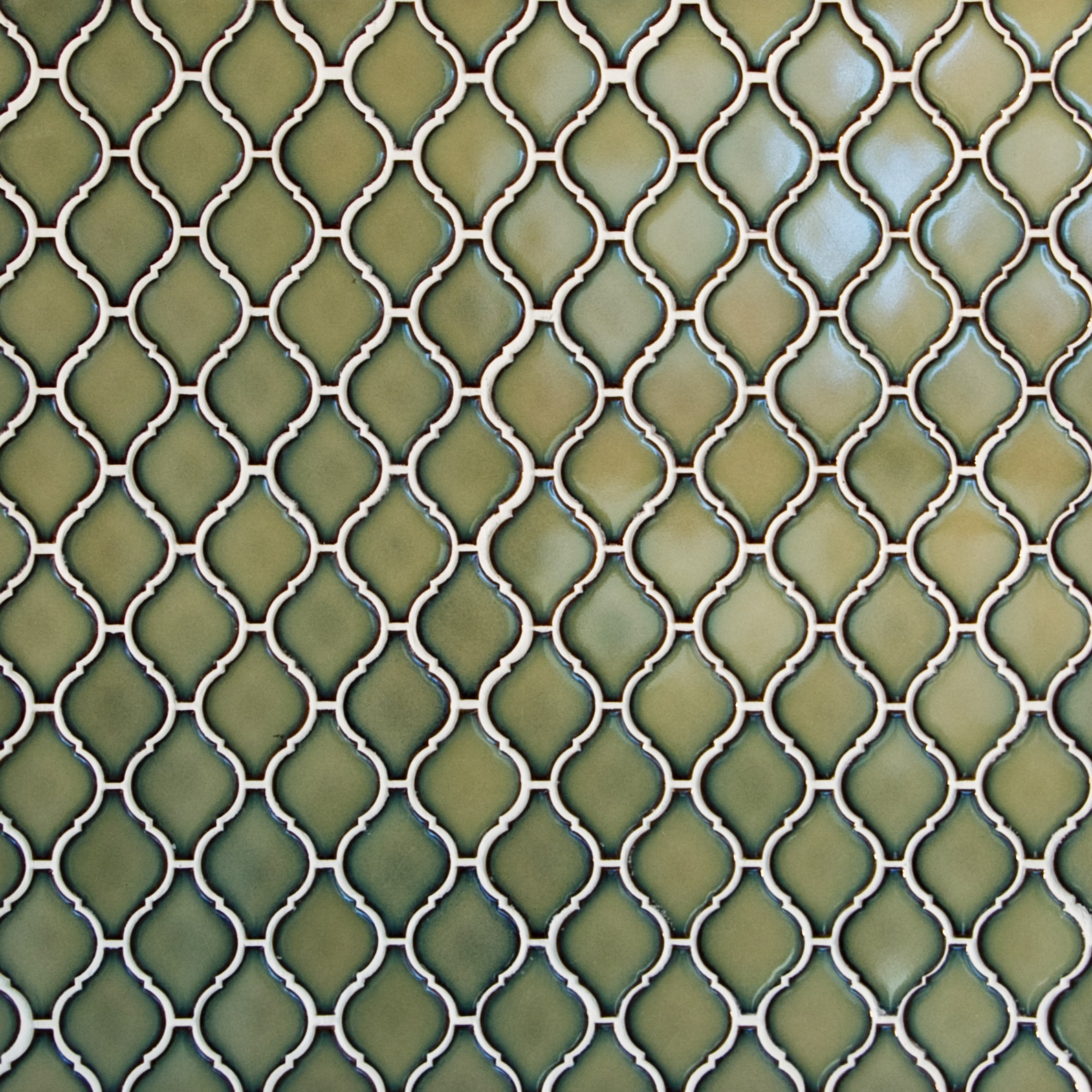 "Moss Green, Narrow Pattern / 2.75""x2"" / Glossy Arabesque Lantern Mosaics 0"