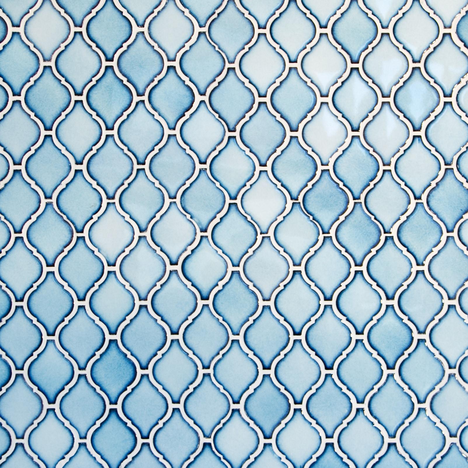 "Sky Blue, Narrow Pattern / 2.75""x2"" / Glossy Arabesque Lantern Mosaics 0"