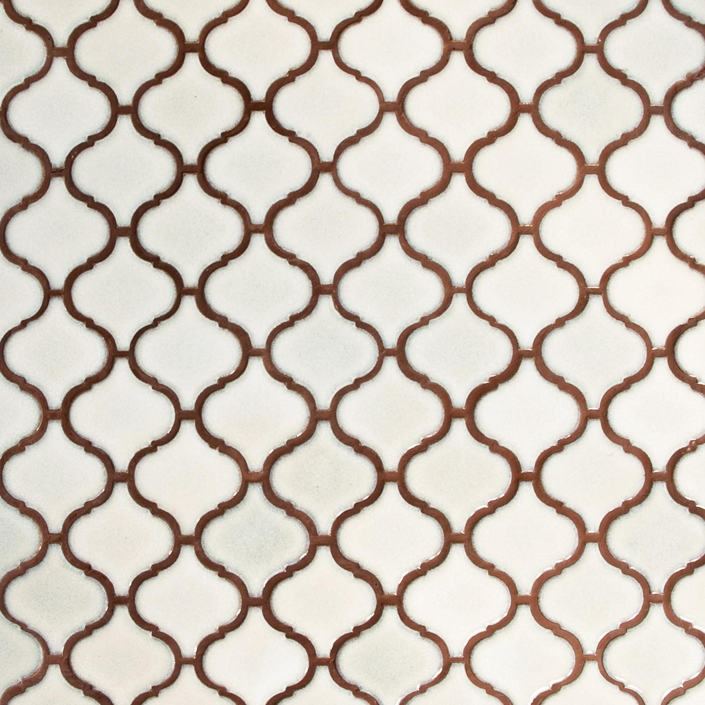 "Antique White, Wide Pattern / 3""x3"" / Glossy Arabesque Lantern Mosaics 0"