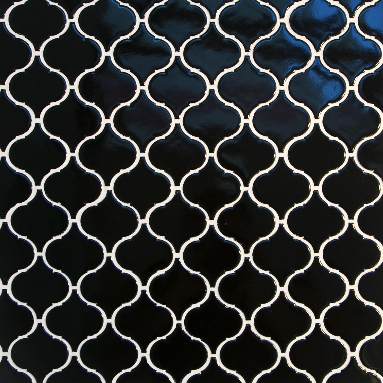 "Black, Wide Pattern / 3""x3"" / Glossy Arabesque Lantern Mosaics 0"
