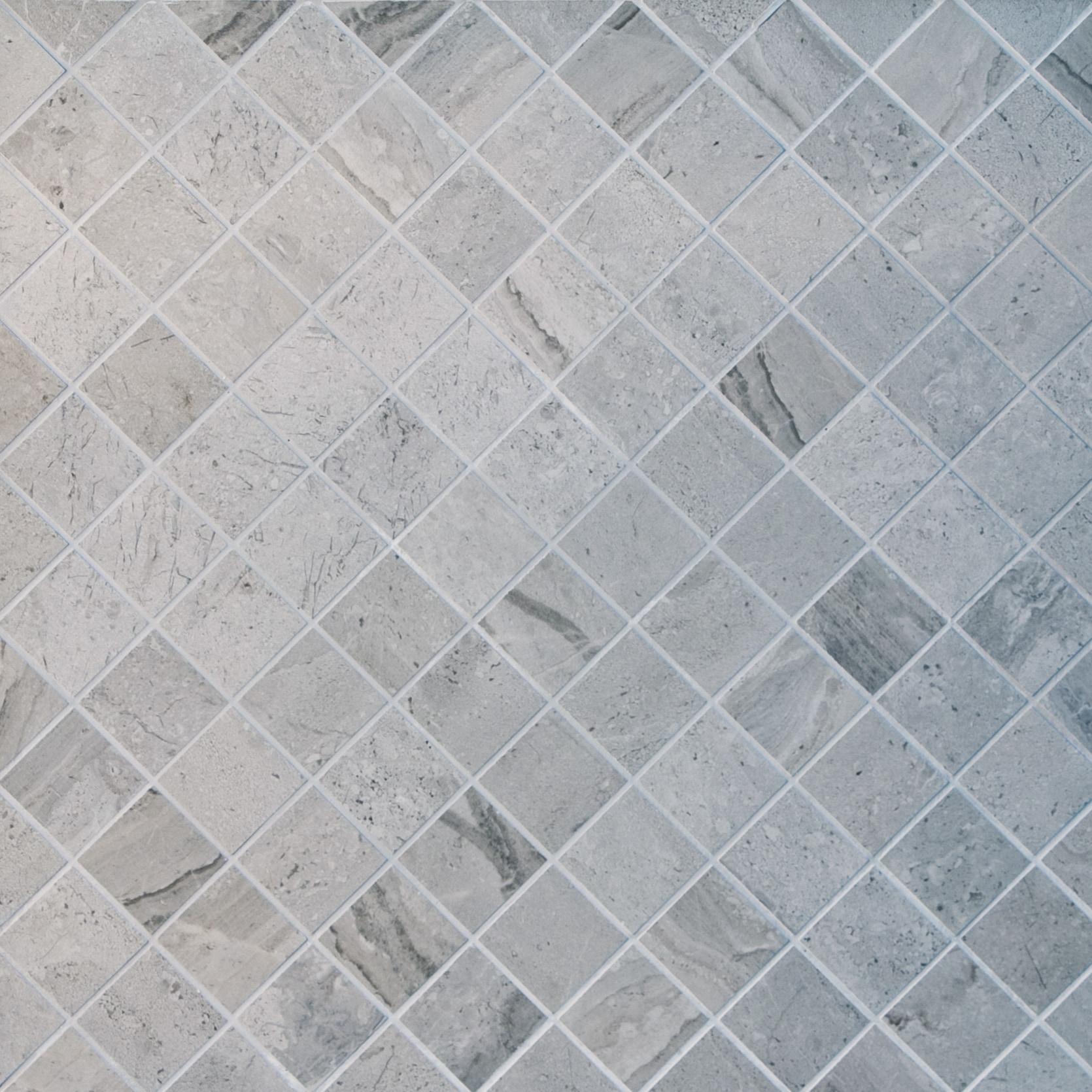 "Silver / 2""x2"" / Matte Square Pattern Porcelain Mosaics 0"
