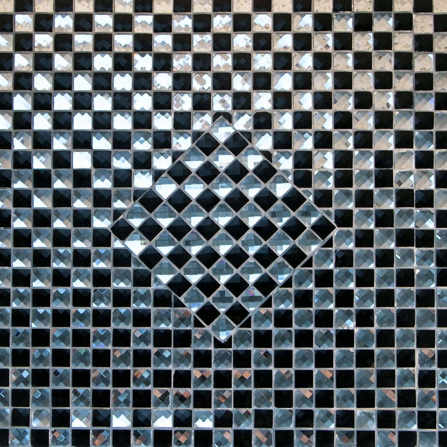 "Black and Mirrored Glass / 1""x1"" Checkerboard Pattern Glass Mosaics 0"