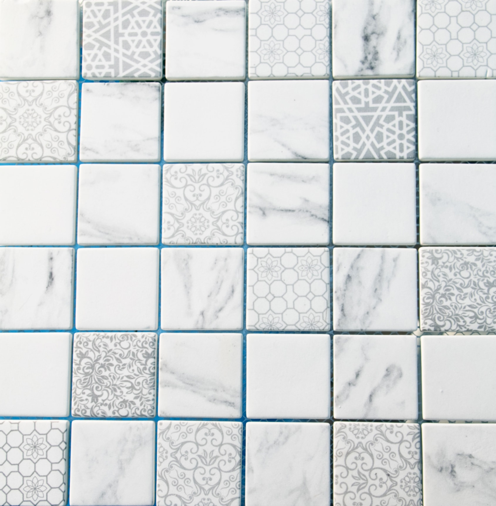 """White Squares with Printed Patterns / 2"""" / Matte Recycled Glass Mosaics 0"""