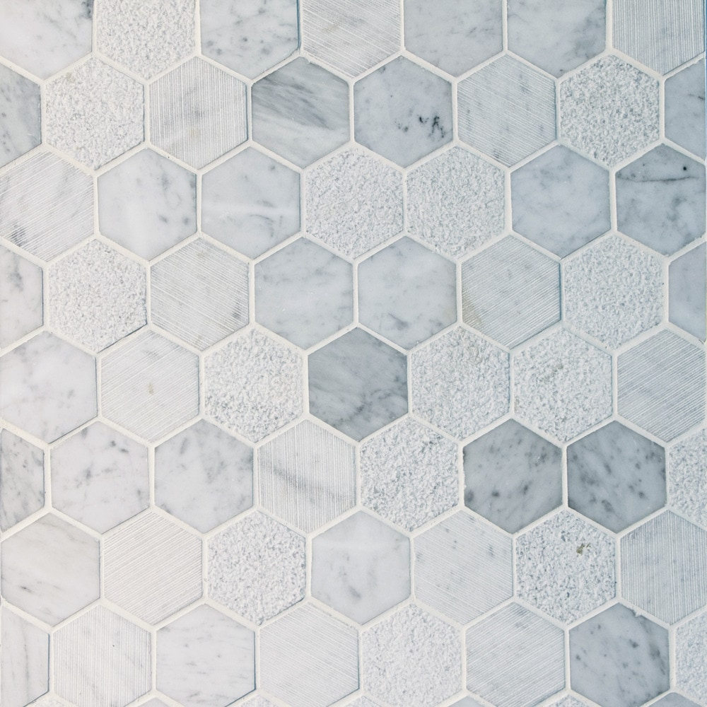 GL Stone & Tile Hexagon Pattern Natural Stone Mosaics White and ...