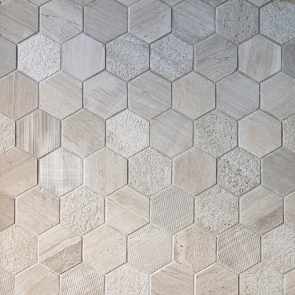Gl Stone Amp Tile Hexagon Pattern Natural Stone Mosaics Grey