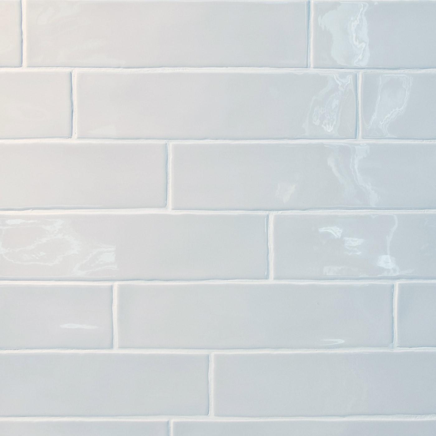 """White / 3""""x12"""" / Glossy Rippled Edge Porcelain Subway Tiles 0"""
