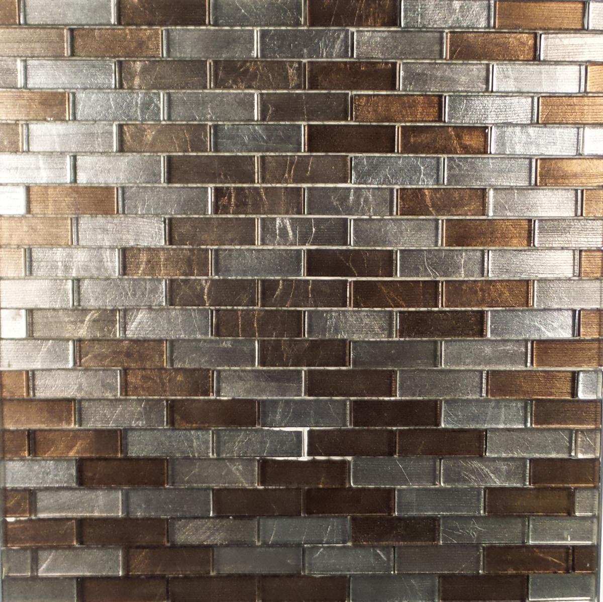 "Brown and Chrome Metallic / 1""x3"" Brick Pattern Glass Mosaics 0"