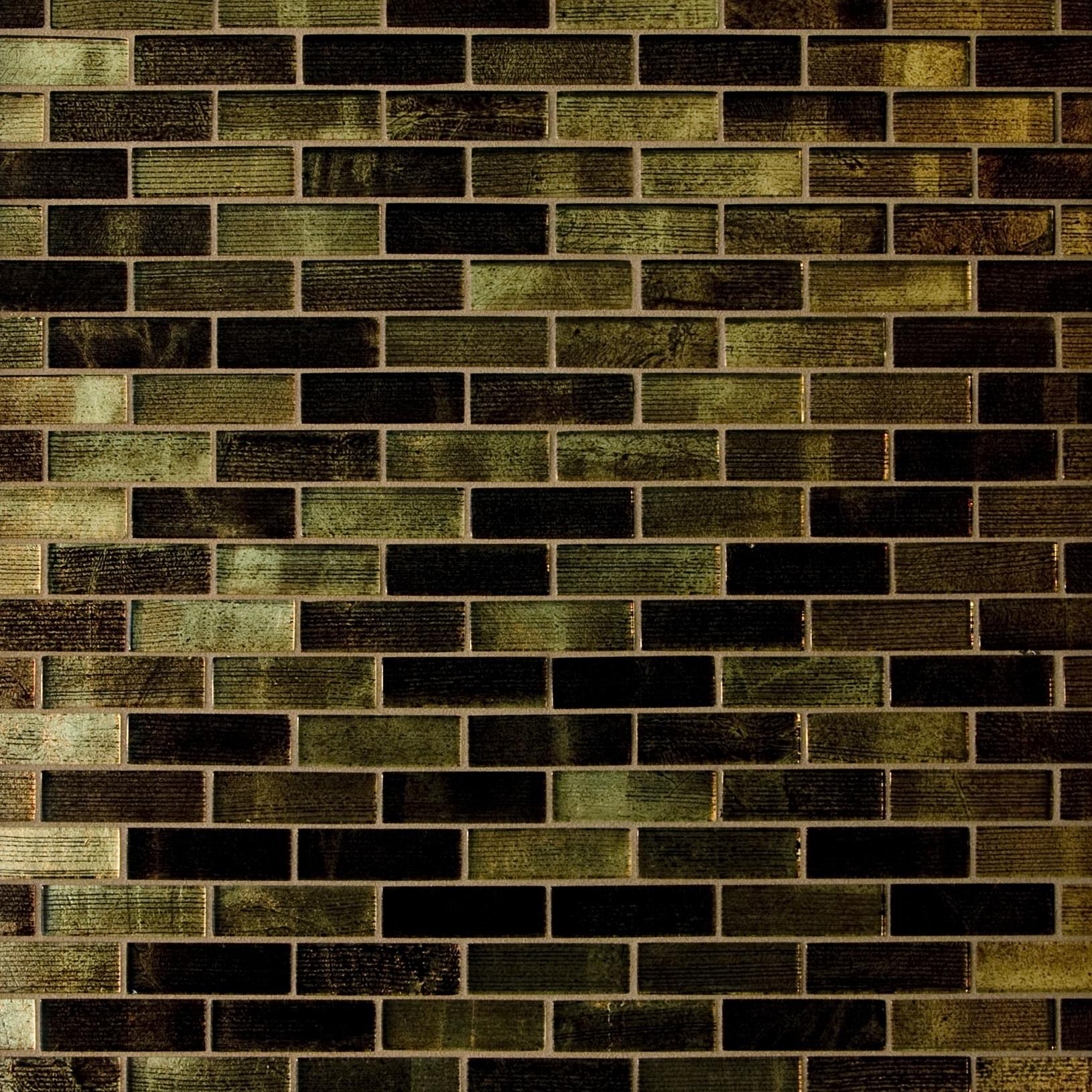 "Brown and Gold Metallic / 1""x3"" Brick Pattern Glass Mosaics 0"