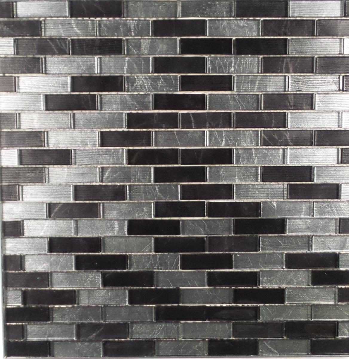 "Black and Chrome Metallic / 1""x3"" Brick Pattern Glass Mosaics 0"