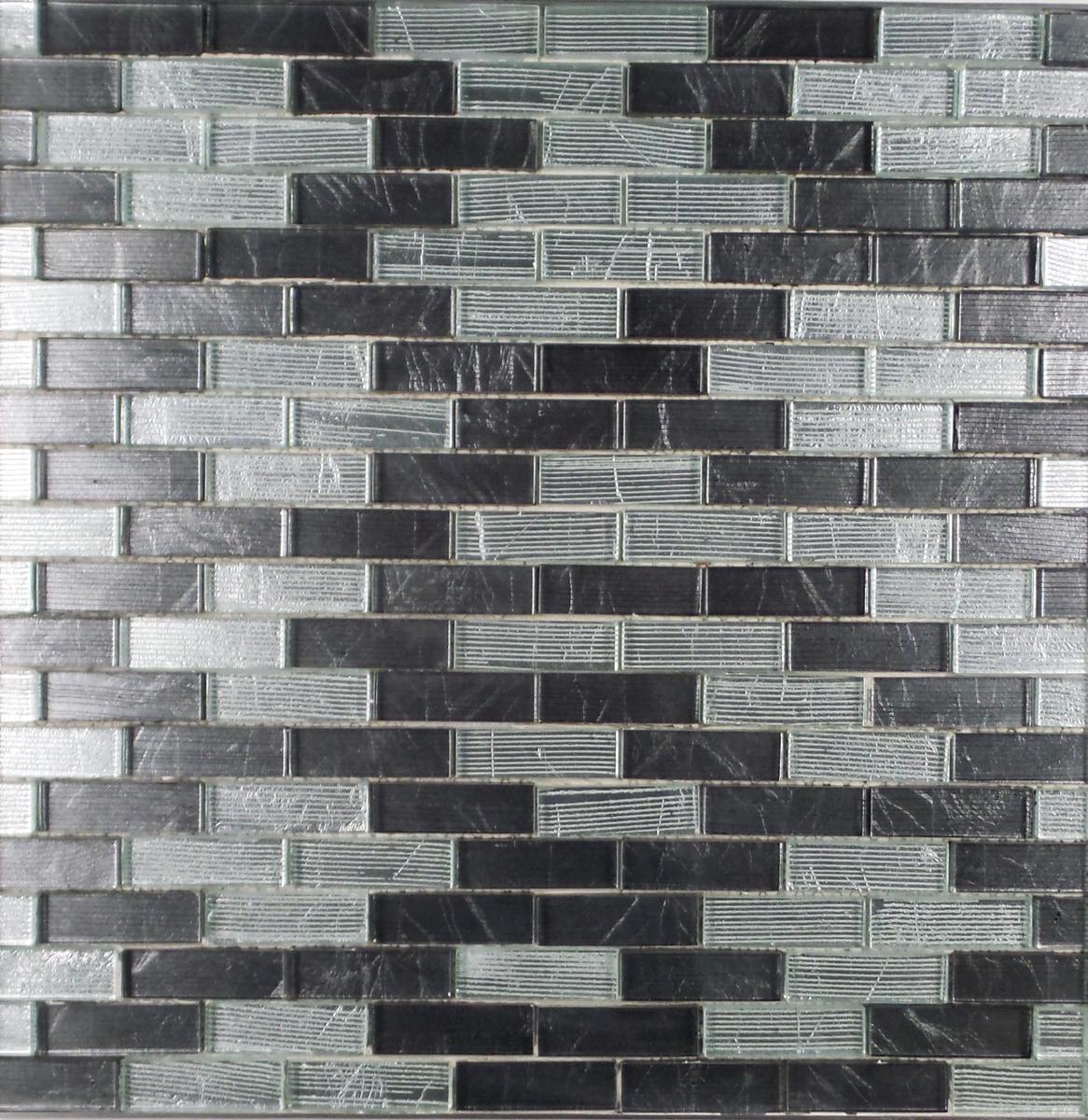 "Dark Grey and Chrome Metallic / 1""x3"" Brick Pattern Glass Mosaics 0"