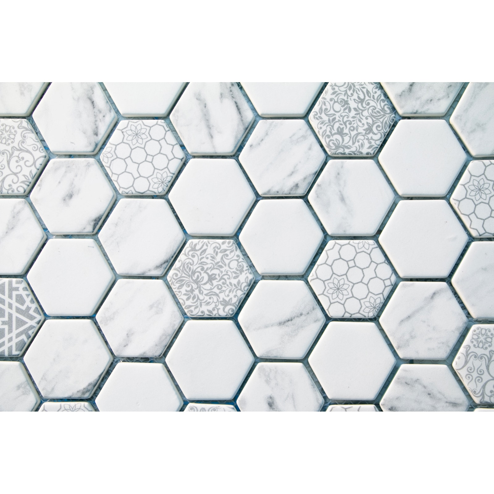 """White Hexagons with Printed Patterns / 2"""" Hex / Matte Recycled Glass Mosaics 0"""