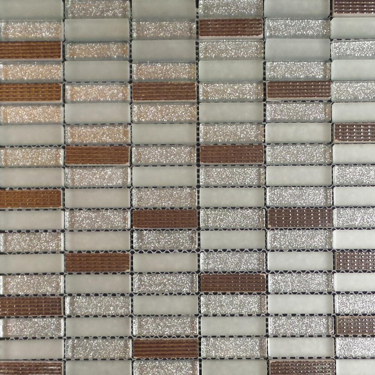 "Bronze, Silver / 2""x5/8"" Stacked Pattern Stone Glass Mosaic 0"