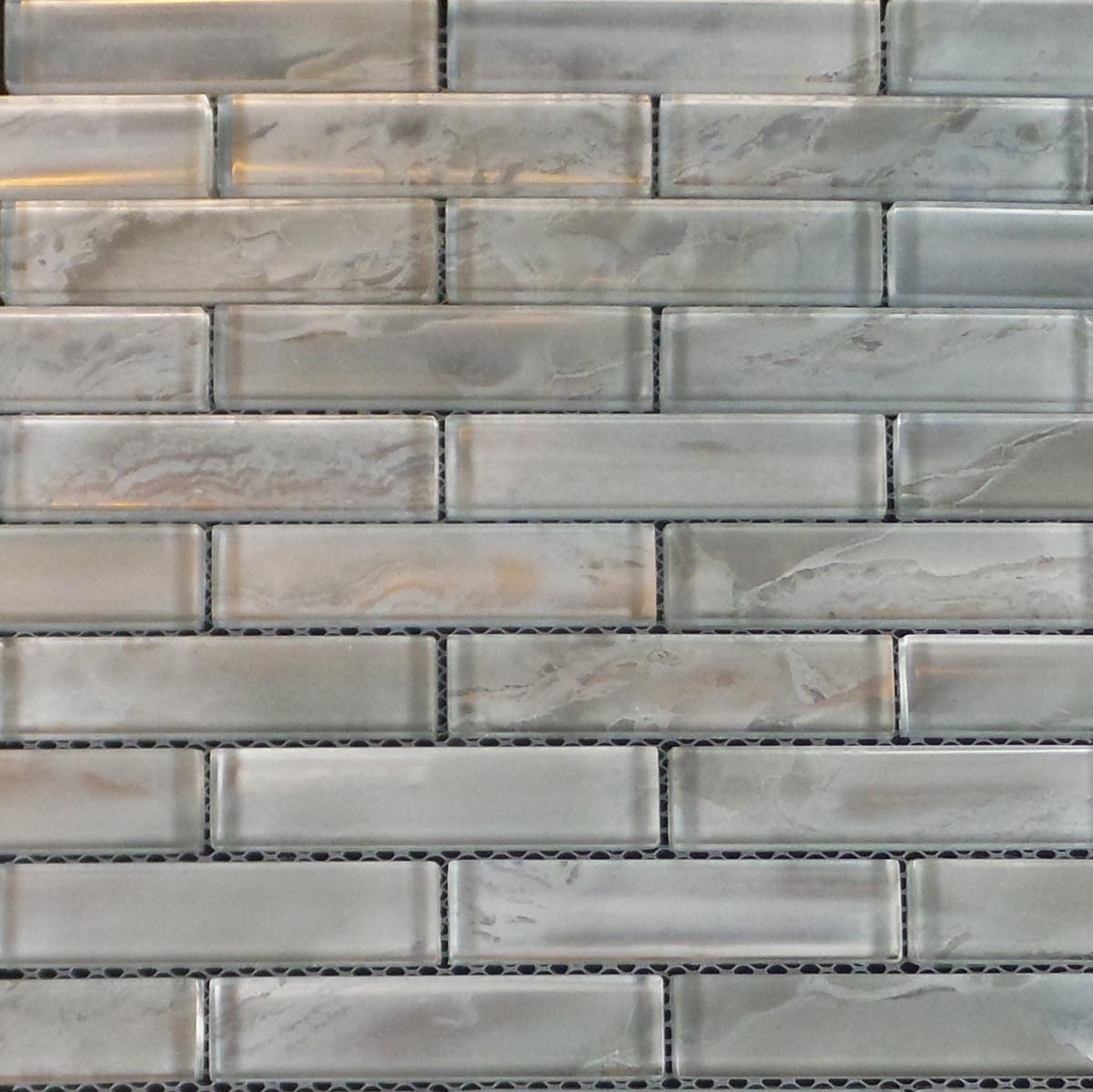 """Silver Cloud Pattern Backing / 1""""x4"""" Brick Pattern Glass Mosaics 0"""